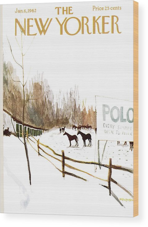 Suburb Country Outdoors Community Town Small Suburban Quaint Village Sport Sports Horse Horses Polo Snow Winter Snowing Jst James Stevenson Sumnerok James Stevenson Jst Artkey 49692 Wood Print featuring the painting New Yorker January 6th, 1962 by James Stevenson