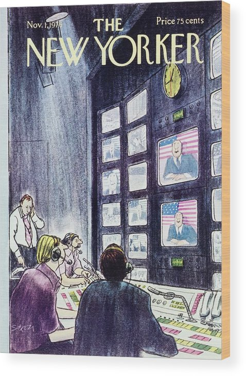 Illustration Wood Print featuring the painting New Yorker November 1st 1976 by Charles D Saxon