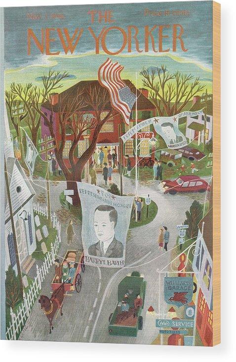Politics Wood Print featuring the painting New Yorker November 2, 1946 by Ilonka Karasz