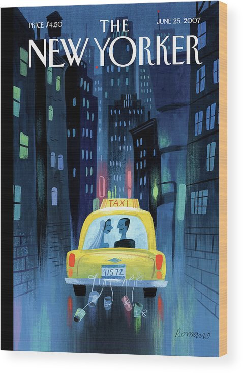 Taxi Cab Wedding Marriage Couple Cans City Urban Night Wood Print featuring the painting Newlywed Couple In A Taxi by Lou Romano