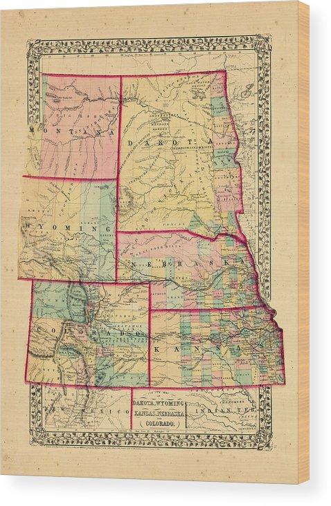 North America, Colorado, Kansas, Montana, Nebraska, North Dakota, South  Dakota, Wyoming, 1870, Map, County Map Of Dakota, Nebraska And Colorado  Wood ...