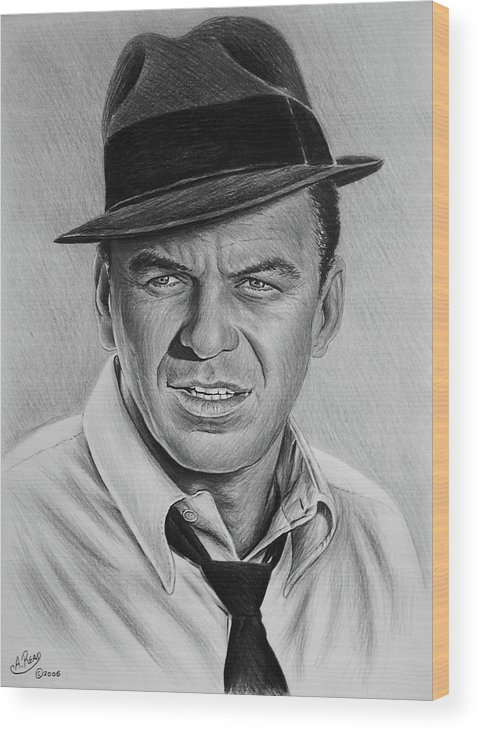 Frank Sinatra Wood Print featuring the drawing Ole Blue Eyes by Andrew Read