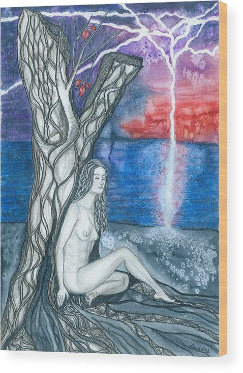 Water Wood Print featuring the painting On The Shore by Lucia Conrad