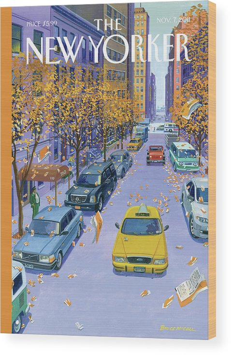 Taxi Wood Print featuring the painting Parking Tickets Falling Off Trees Similar Leaves by Bruce McCall