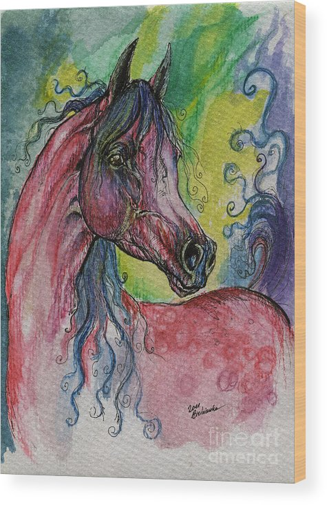 Fairytale Wood Print featuring the painting Pink Horse With Blue Mane by Angel Ciesniarska