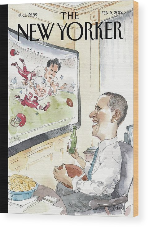 President Wood Print featuring the painting President Obama Watches Football On Tv by Barry Blitt