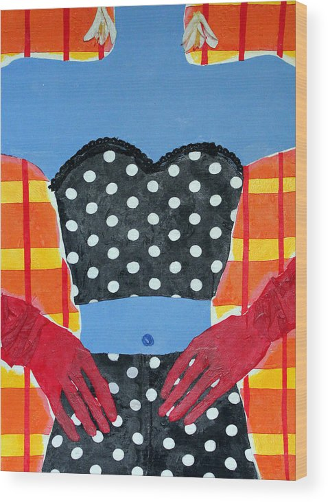 Mixed Media Acrylic Collage Wood Print featuring the mixed media Red Gloves by Diane Fine