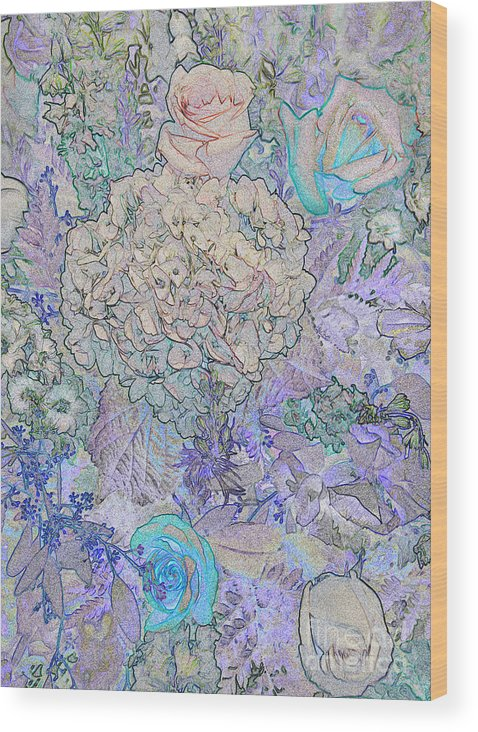 Rose Tapestry Wood Print featuring the digital art Rose Tapestry by Mae Wertz