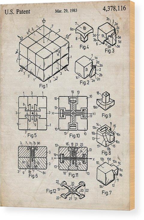 Rubiks Cube Puzzle Patent Art Wood Print