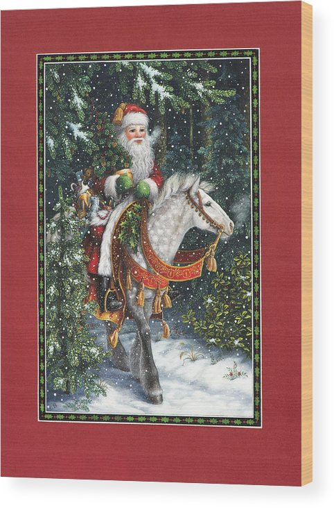 Santa Claus Wood Print featuring the painting Santa Of The Northern Forest by Lynn Bywaters