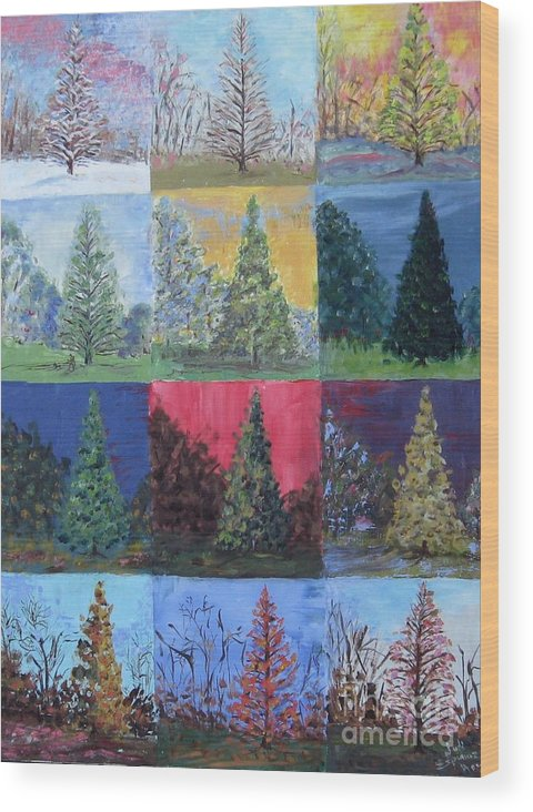 Trees With Different Backgrounds Wood Print featuring the painting Seasons Of A Dawn Redwood - Sold by Judith Espinoza