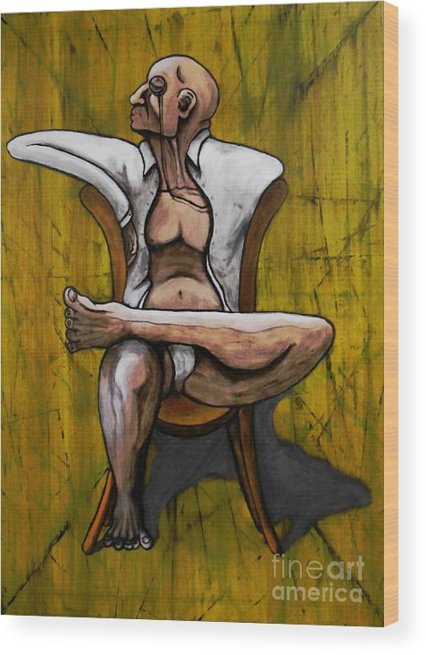 Bacon Wood Print featuring the painting Seated Figure With A Monocle by Filip D Jensen