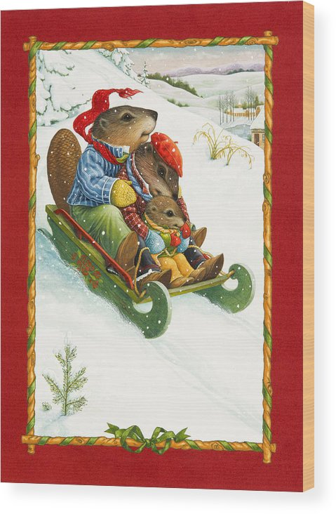 Christmas Wood Print featuring the painting Sledding by Lynn Bywaters