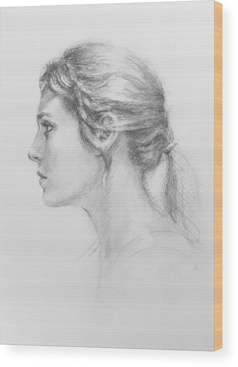 Figurative Wood Print featuring the drawing Study In Profile by Sarah Parks