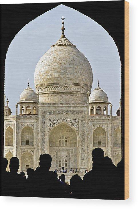 Architecture Wood Print featuring the photograph Taj Through The Gates by Balaji Nagarajan