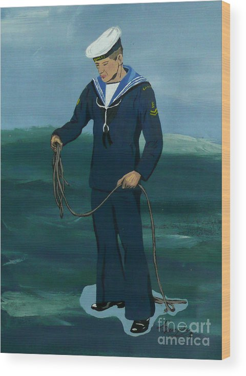 Sailor Wood Print featuring the painting The Sailor by Anthony Dunphy