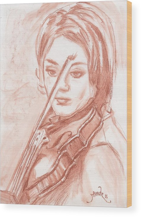 Figure Wood Print featuring the drawing The Violinist by Horacio Prada