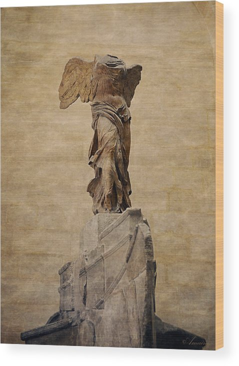 the winged victory of samothrace wood print by maria angelica maira