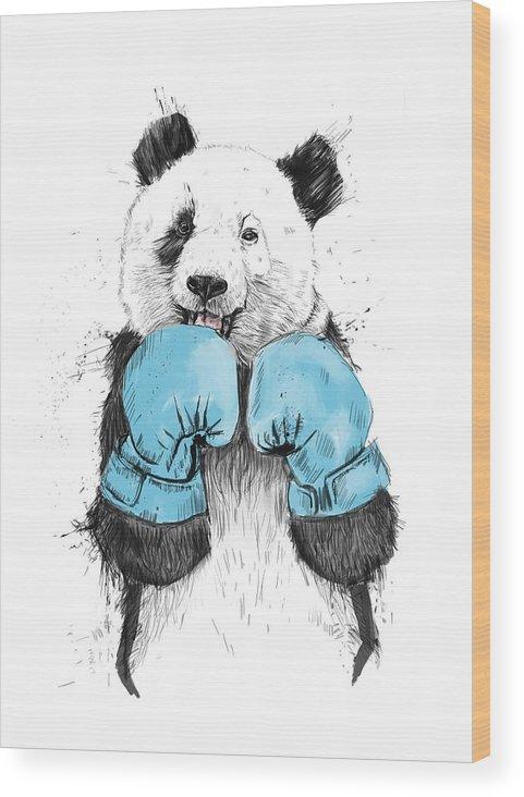 Panda Wood Print featuring the digital art The Winner by Balazs Solti