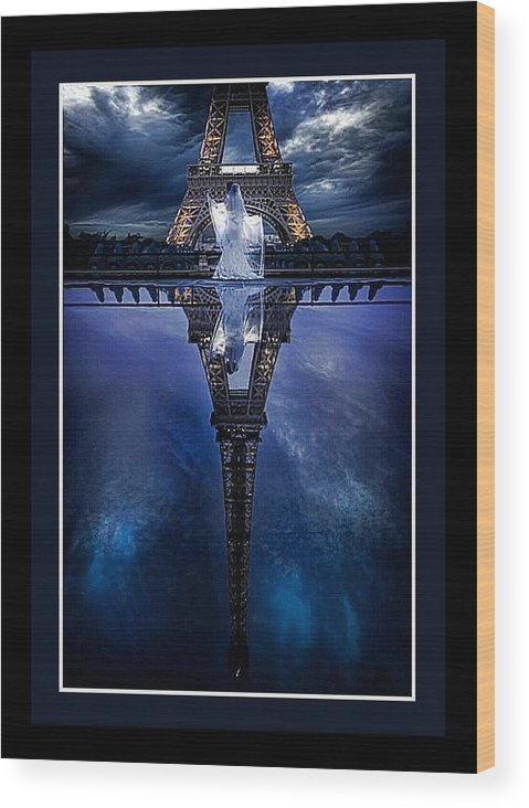 Wood Print featuring the mixed media Tower Reflexion by Tracie Howard