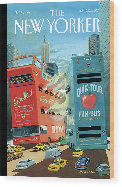 Nyc Wood Print featuring the painting Two Huge Double Decker Tourist Buses Shooting by Bruce McCall