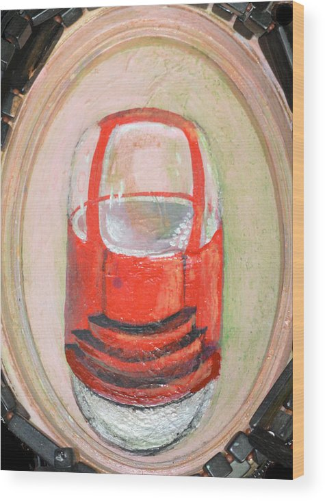 Car One Wheel Red Abstract Modern Outsider Transportation Vehicle Tire Folk Raw Wood Print featuring the painting Unicar by Nancy Mauerman