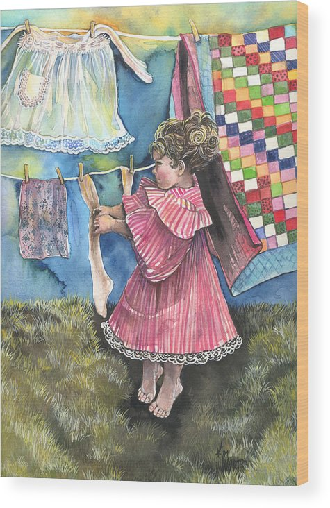 Girl Wood Print featuring the painting Wash Day by Kim Sutherland Whitton