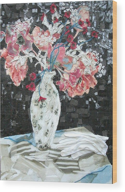 Flowers In A Vase Wood Print featuring the mixed media White Glove by Diane Fine