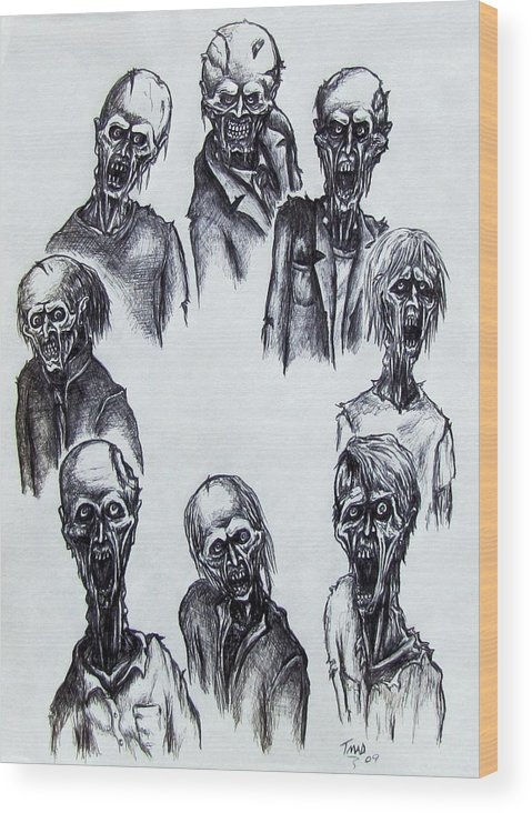 Michael Wood Print featuring the drawing Zombies by Michael TMAD Finney