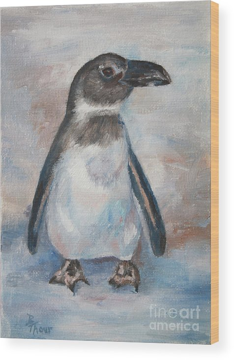 Penguin Wood Print featuring the painting Chilly Little Penguin by Brenda Thour