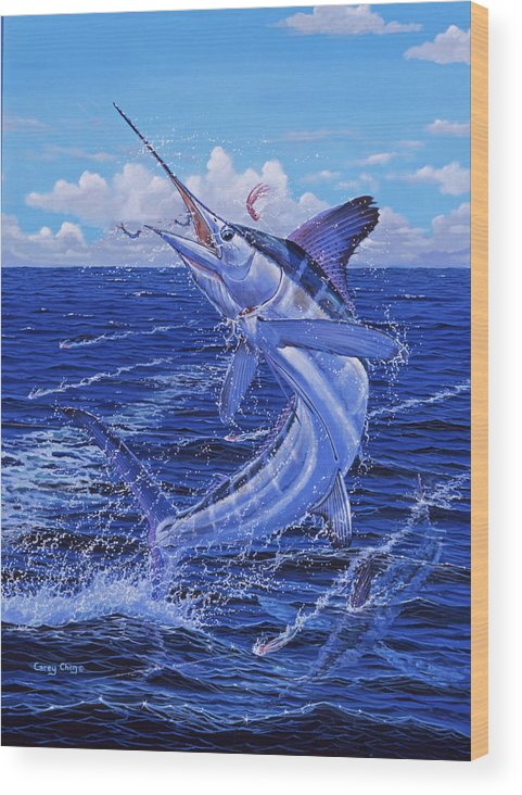 White Marlin Wood Print featuring the painting Flat Line by Carey Chen