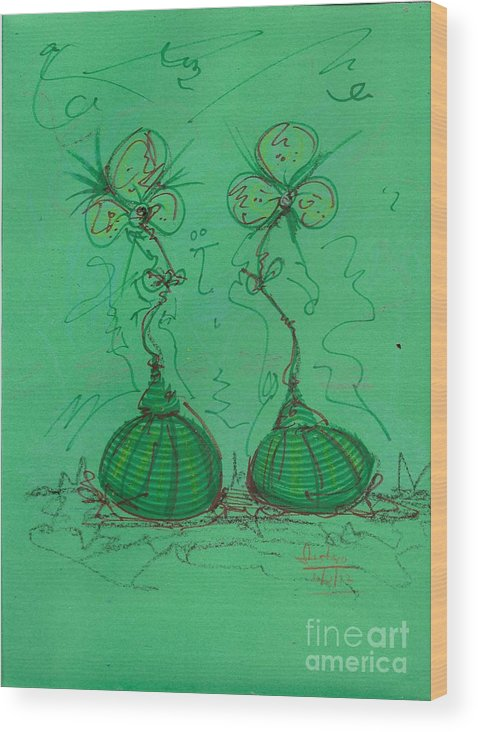 Flowers Wood Print featuring the mixed media Flower Bells by Gustavo Ramirez