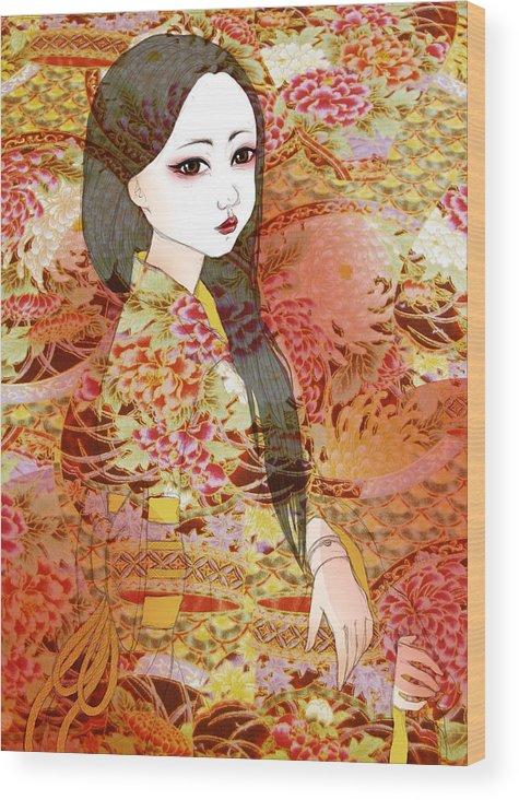 Doll Wood Print featuring the digital art Kyoko by Sara Vidigal