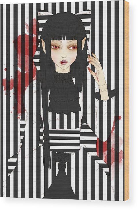 Vampire Wood Print featuring the digital art Miyu by Sara Vidigal