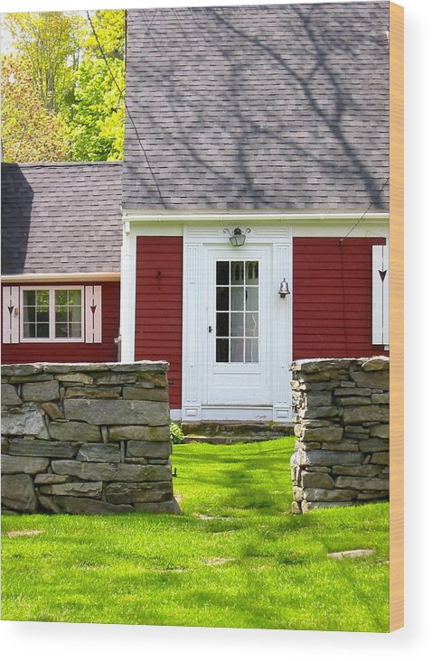 New England Photo Wood Print featuring the photograph New England Farmhouse by Sarah Gayle Carter