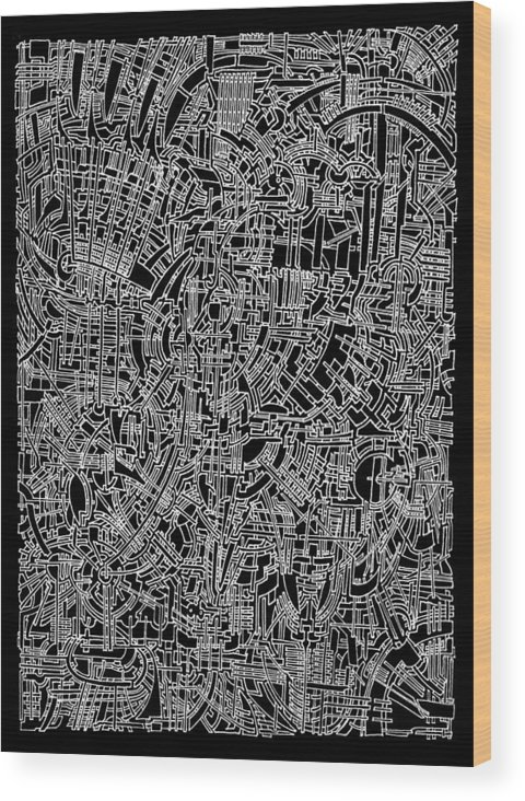 Circuits Circuit Steampunk Lines Map Filigree Biomechanical Black-and-white Drawings Organic Art Deco Magic-eyes Fascination Cityscape Mysterious Geometry Inversion Patchwork Detail Wood Print featuring the drawing Open Landscape 1 by Power City Images