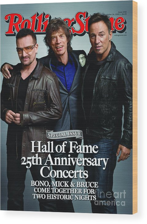 Bono Wood Print featuring the photograph Rolling Stone Cover - Volume #1092 - 11/26/2009 - Bono, Mick Jagger, And Bruce Springsteen by Mark Seliger