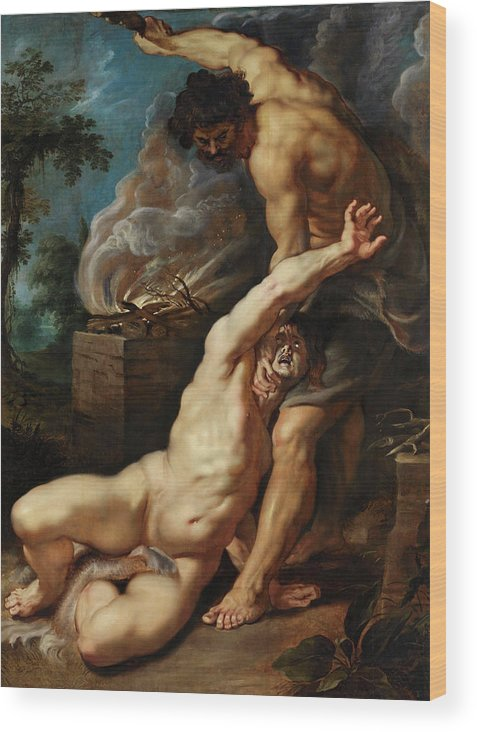 Abel Wood Print featuring the painting Cain Slaying Abel by Peter Paul Rubens