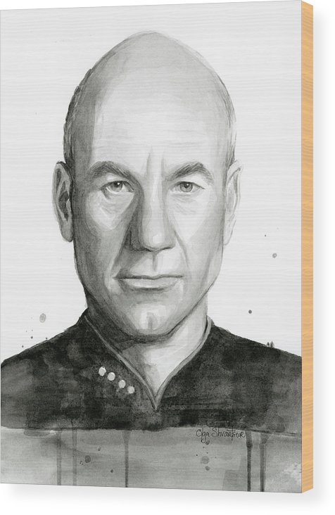 Captain Picard Wood Print featuring the painting Captain Picard by Olga Shvartsur
