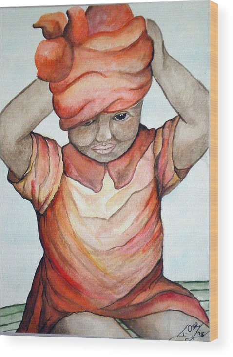 Girl Wood Print featuring the painting Indian Girl by Tammera Malicki-Wong