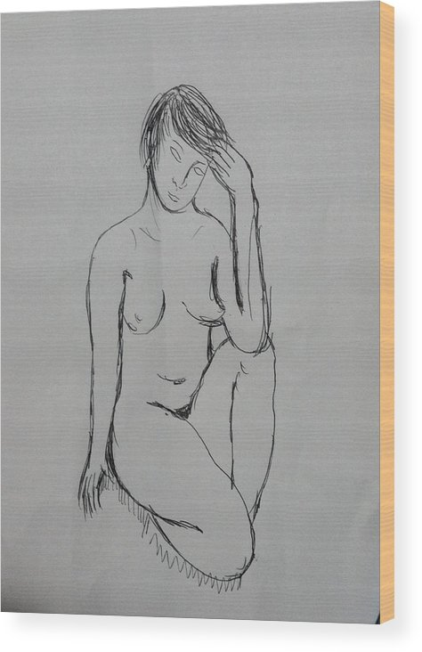 Nude Wood Print featuring the drawing Nude Study 8616 by Hae Kim
