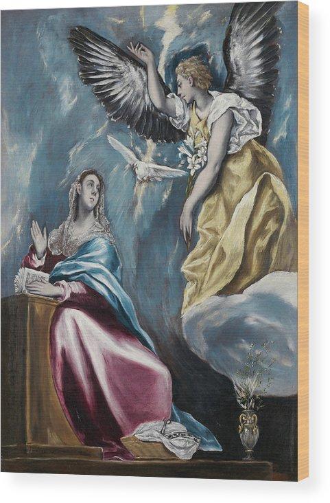 Annunciation Wood Print featuring the painting The Annunciation by El Greco