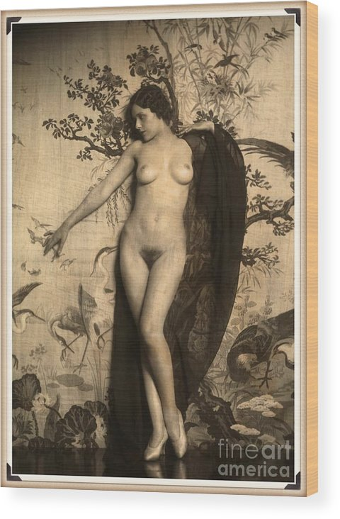 Vintage Wood Print featuring the digital art Digital Ode To Vintage Nude By Mb by Mary Bassett