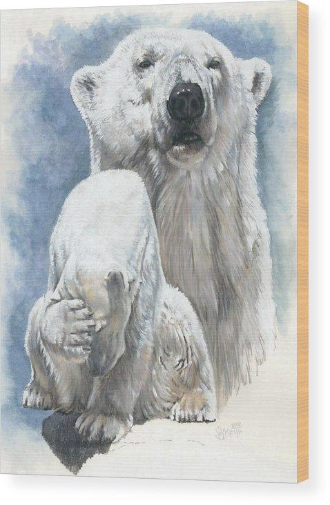 Polar Bear Wood Print featuring the mixed media Ivory by Barbara Keith