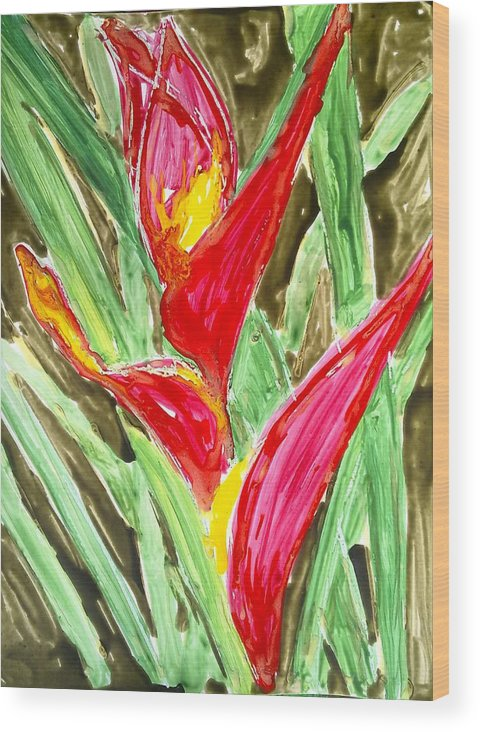 Abstract Flowers Wood Print featuring the painting Divine Flowers by Baljit Chadha