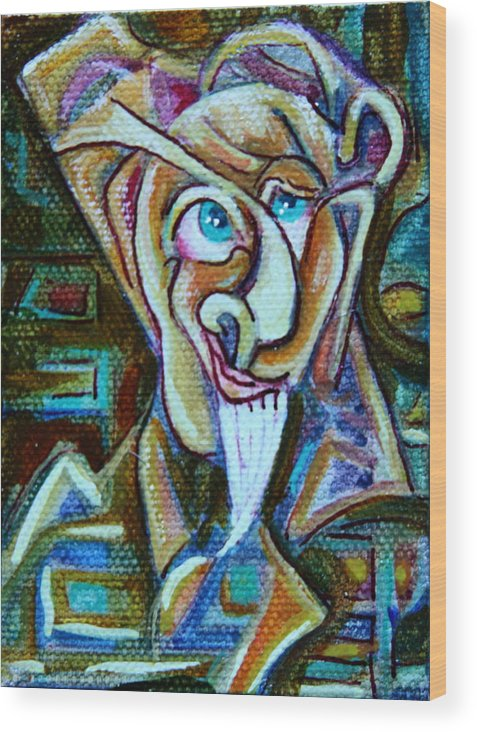 Abstract Portrait Wood Print featuring the painting A Cast Of Characters Three by Dan Earle