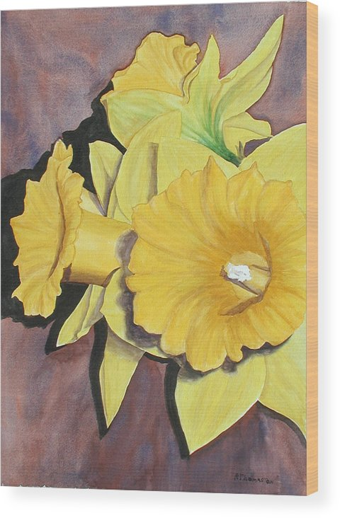 Fine Art Wood Print featuring the painting After The Tulips by Robert Thomaston