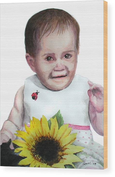 Baby Wood Print featuring the painting Alaina by Ferrel Cordle