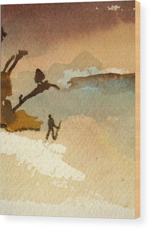 Aceo Wood Print featuring the painting Alone by Bill Meeker