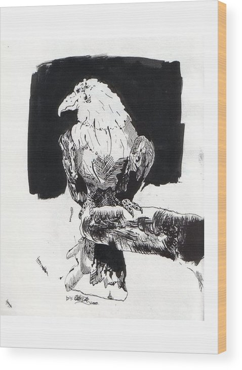 Ink Wood Print featuring the painting Alone In The Dark by Gabriel Mendez